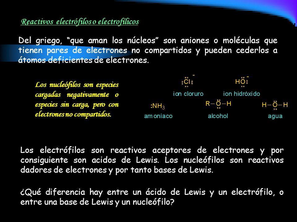 Del griego, que aman los núcleos son aniones o moléculas que tienen pares de electrones no compartidos y pueden cederlos a átomos deficientes de elect