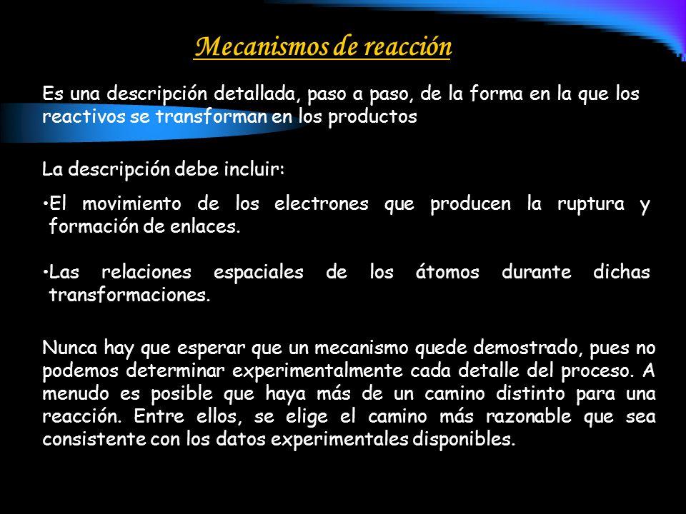 Mecanismos de reacción Es una descripción detallada, paso a paso, de la forma en la que los reactivos se transforman en los productos La descripción d