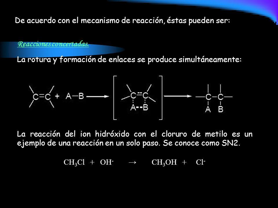 De acuerdo con el mecanismo de reacción, éstas pueden ser: Reacciones concertadas. La rotura y formación de enlaces se produce simultáneamente: La rea