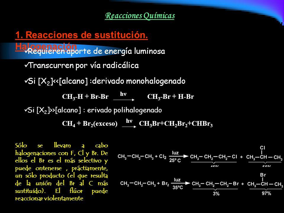 Reacciones Químicas 1. Reacciones de sustitución. Halogenación Requieren aporte de energía luminosa Si [X 2 ]<<[alcano] :derivado monohalogenado CH 3