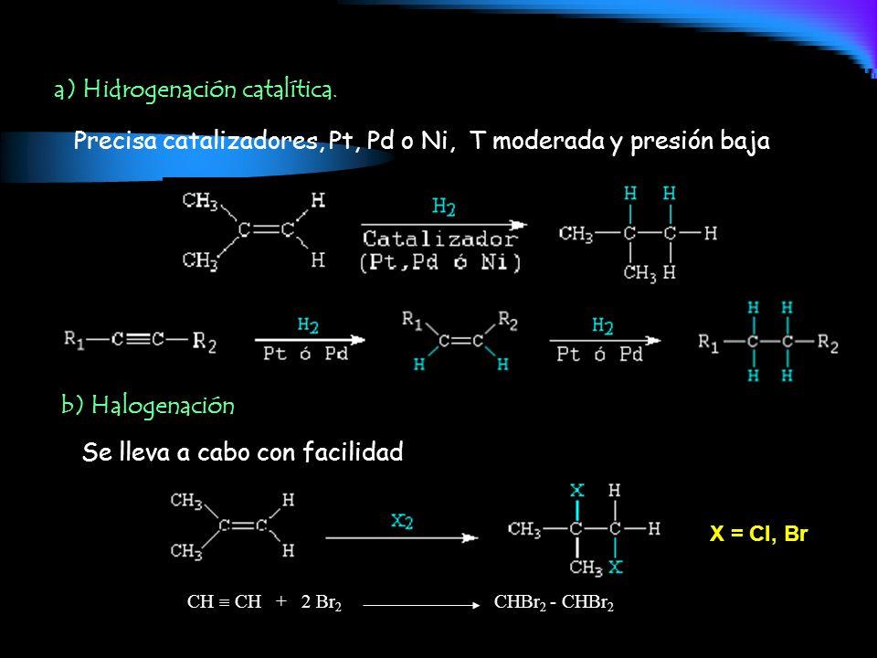 Precisa catalizadores, Pt, Pd o Ni, T moderada y presión baja a) Hidrogenación catalítica. X = Cl, Br CH CH + 2 Br 2 CHBr 2 - CHBr 2 b) Halogenación S