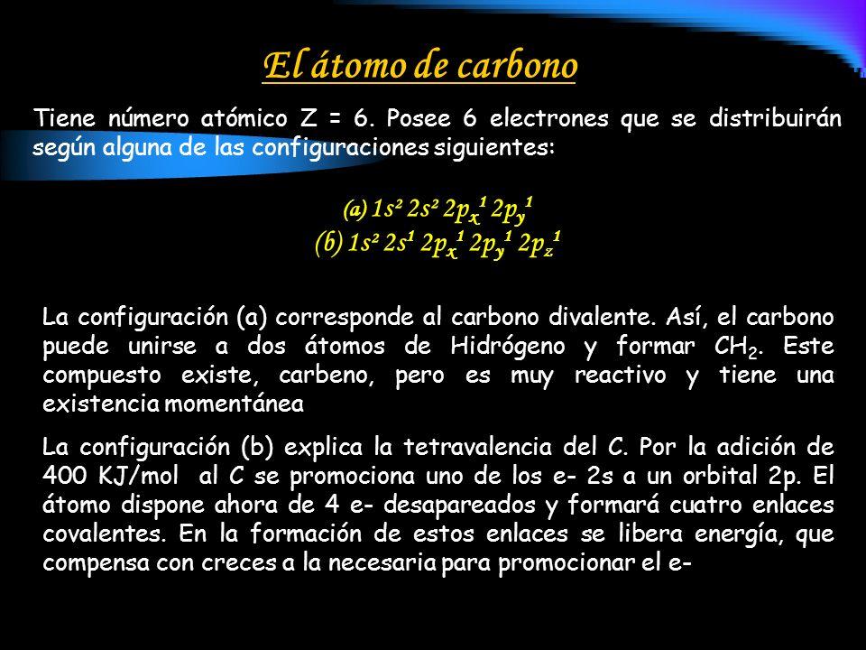 El átomo de carbono Tiene número atómico Z = 6. Posee 6 electrones que se distribuirán según alguna de las configuraciones siguientes: (a) 1s² 2s² 2p