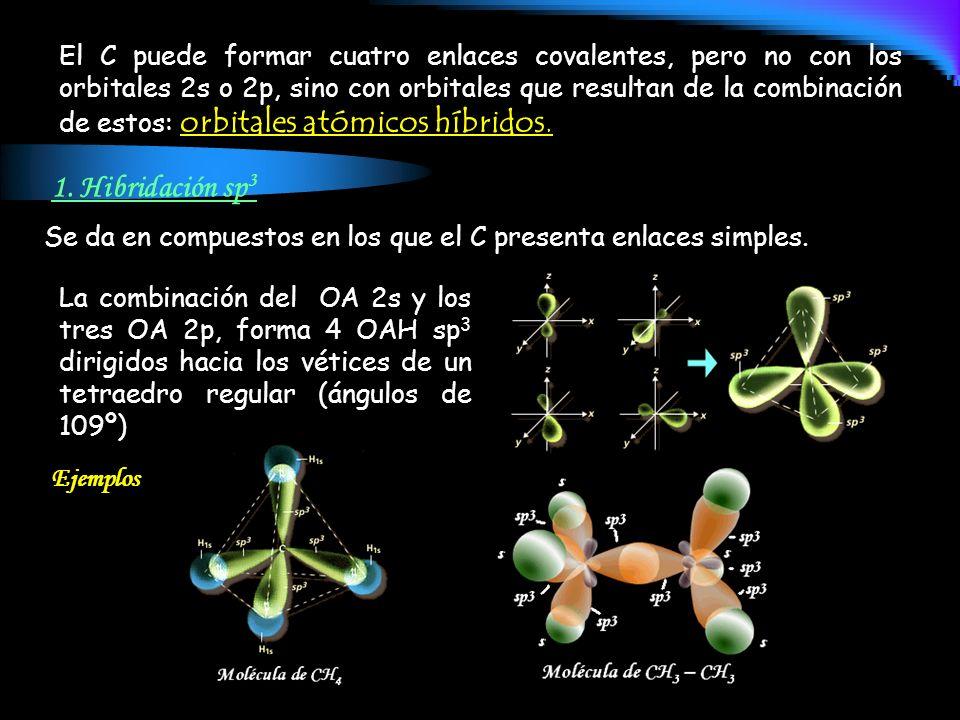 1. Hibridación sp 3 La combinación del OA 2s y los tres OA 2p, forma 4 OAH sp 3 dirigidos hacia los vétices de un tetraedro regular (ángulos de 109º)