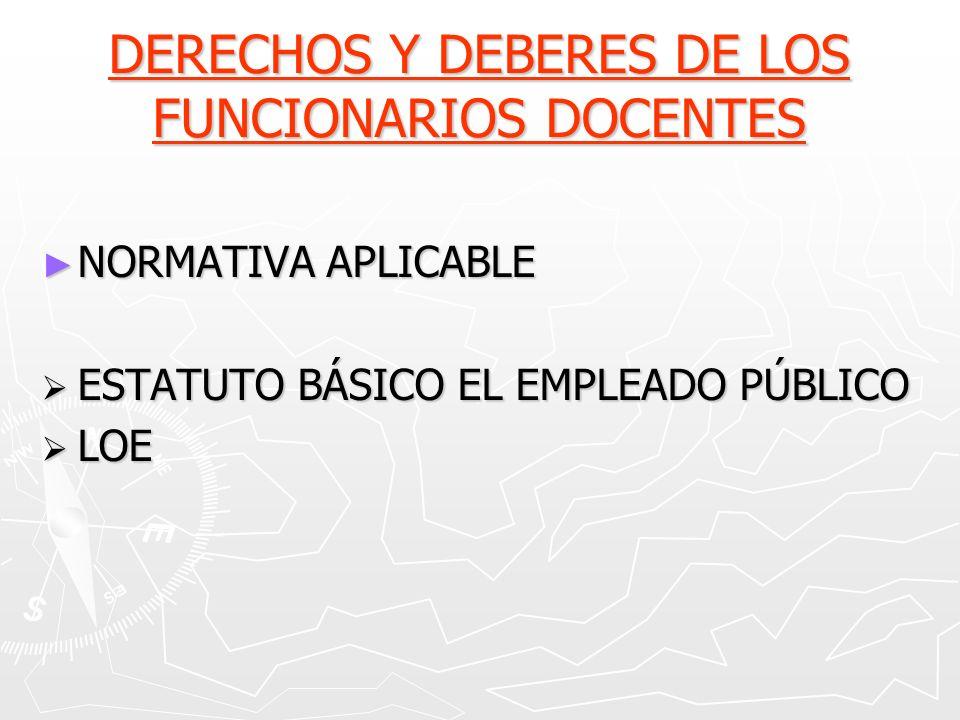 DERECHOS Y DEBERES DE LOS FUNCIONARIOS DOCENTES NORMATIVA APLICABLE NORMATIVA APLICABLE ESTATUTO BÁSICO EL EMPLEADO PÚBLICO ESTATUTO BÁSICO EL EMPLEAD