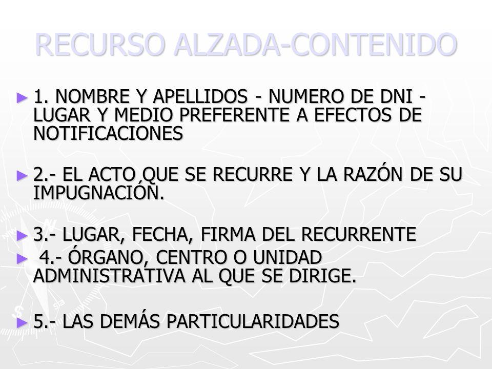 RECURSO ALZADA-CONTENIDO 1. NOMBRE Y APELLIDOS - NUMERO DE DNI - LUGAR Y MEDIO PREFERENTE A EFECTOS DE NOTIFICACIONES 1. NOMBRE Y APELLIDOS - NUMERO D