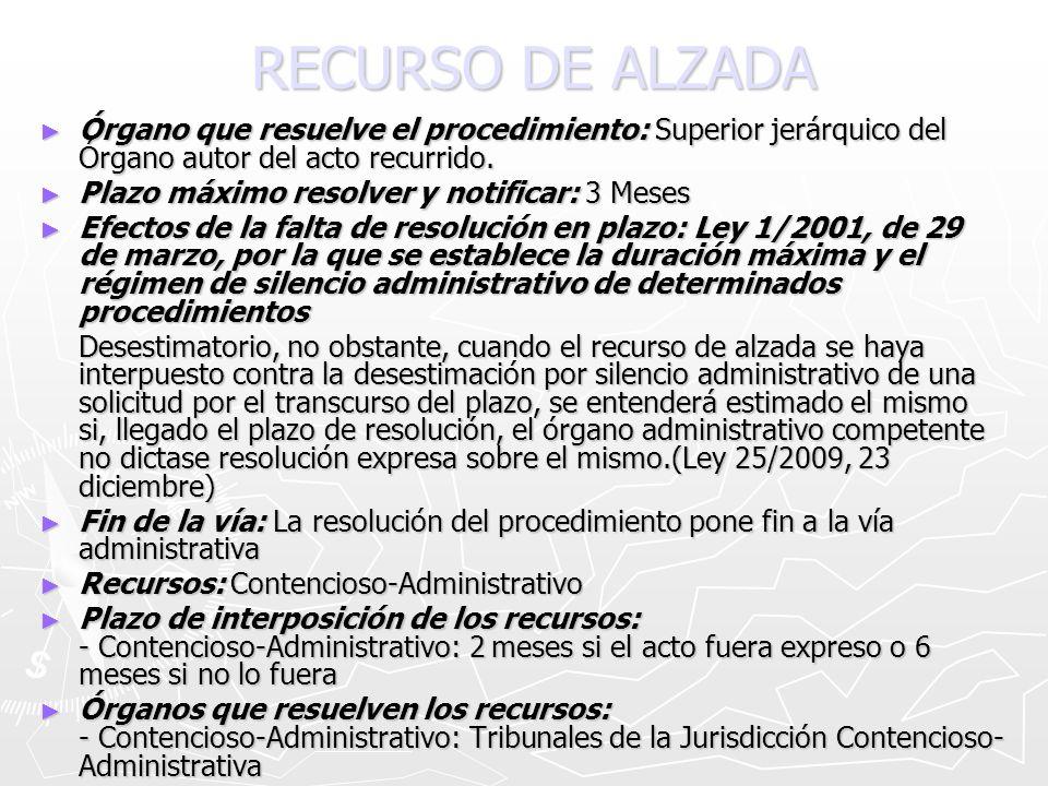 RECURSO DE ALZADA Órgano que resuelve el procedimiento: Superior jerárquico del Órgano autor del acto recurrido. Órgano que resuelve el procedimiento:
