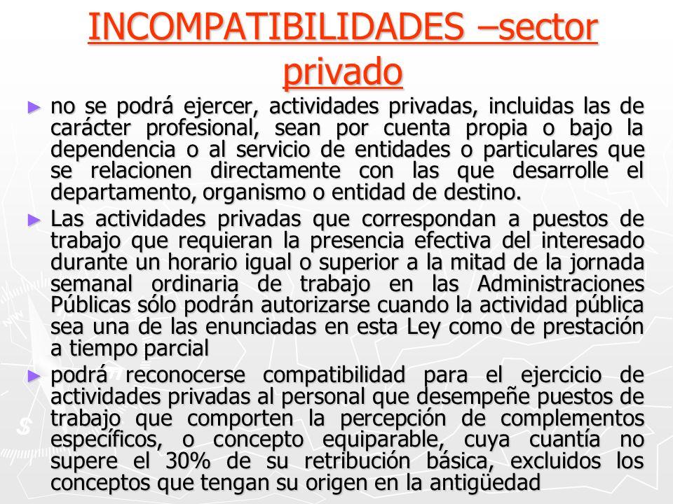 INCOMPATIBILIDADES –sector privado no se podrá ejercer, actividades privadas, incluidas las de carácter profesional, sean por cuenta propia o bajo la