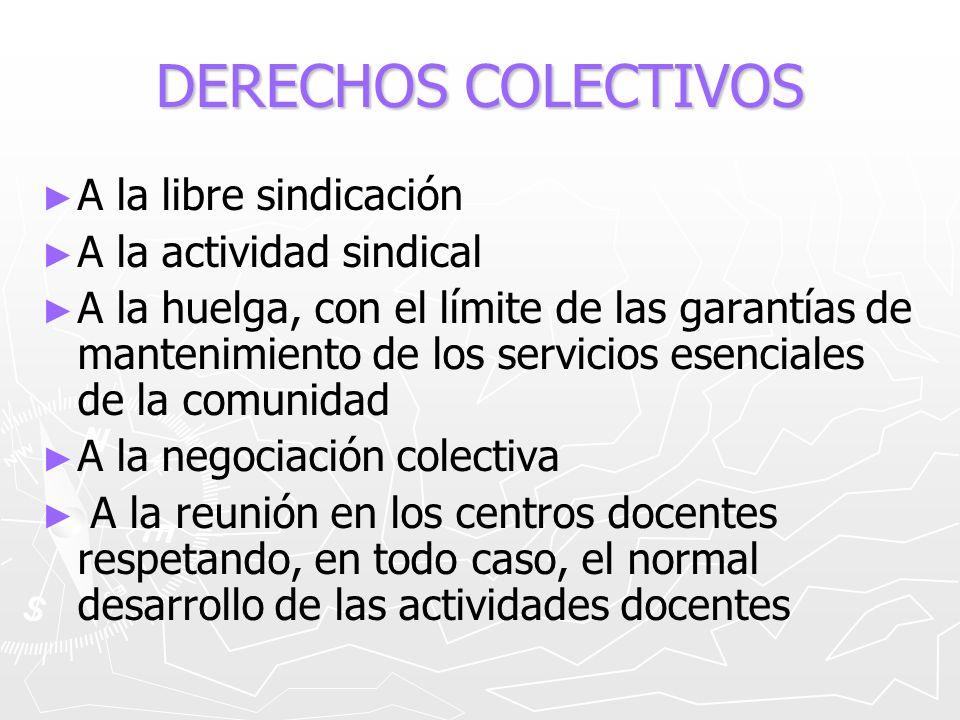 DERECHOS COLECTIVOS A la libre sindicación A la actividad sindical A la huelga, con el límite de las garantías de mantenimiento de los servicios esenc