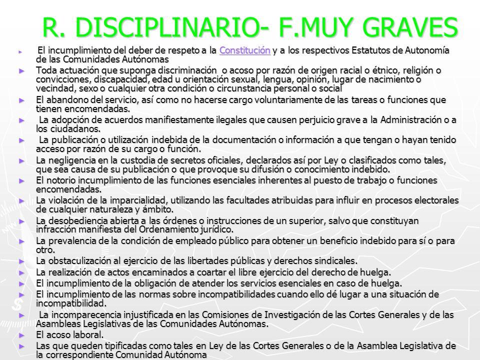 R. DISCIPLINARIO- F.MUY GRAVES El incumplimiento del deber de respeto a la Constitución y a los respectivos Estatutos de Autonomía de las Comunidades