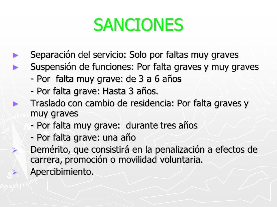 SANCIONES Separación del servicio: Solo por faltas muy graves Separación del servicio: Solo por faltas muy graves Suspensión de funciones: Por falta g