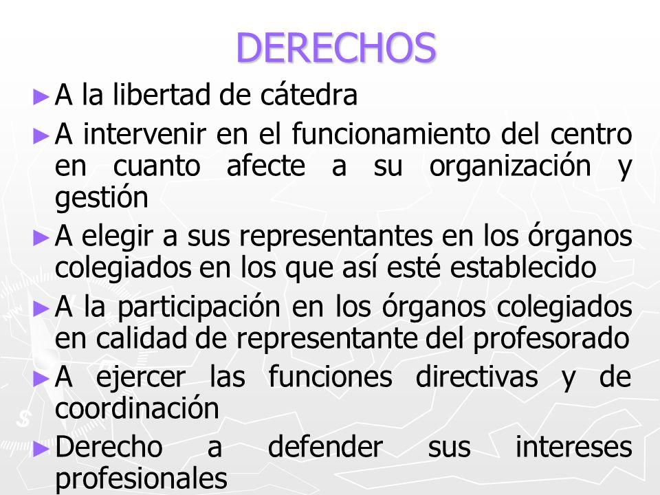 DERECHOS A la libertad de cátedra A intervenir en el funcionamiento del centro en cuanto afecte a su organización y gestión A elegir a sus representan