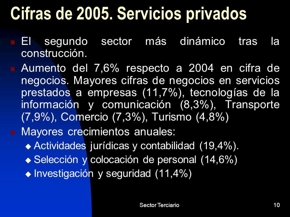 Sector Terciario10 Cifras de 2005. Servicios privados El segundo sector más dinámico tras la construcción. Aumento del 7,6% respecto a 2004 en cifra d