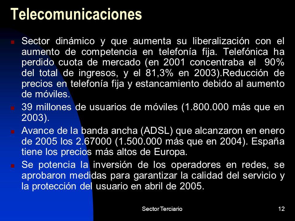 Sector Terciario12 Telecomunicaciones Sector dinámico y que aumenta su liberalización con el aumento de competencia en telefonía fija. Telefónica ha p