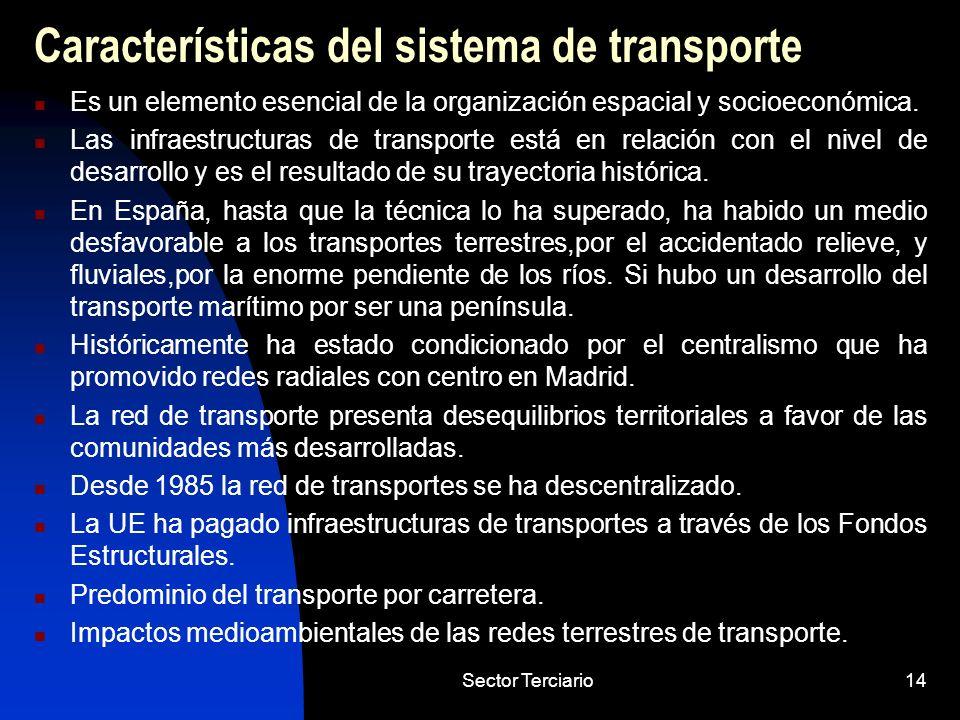 Sector Terciario14 Características del sistema de transporte Es un elemento esencial de la organización espacial y socioeconómica. Las infraestructura
