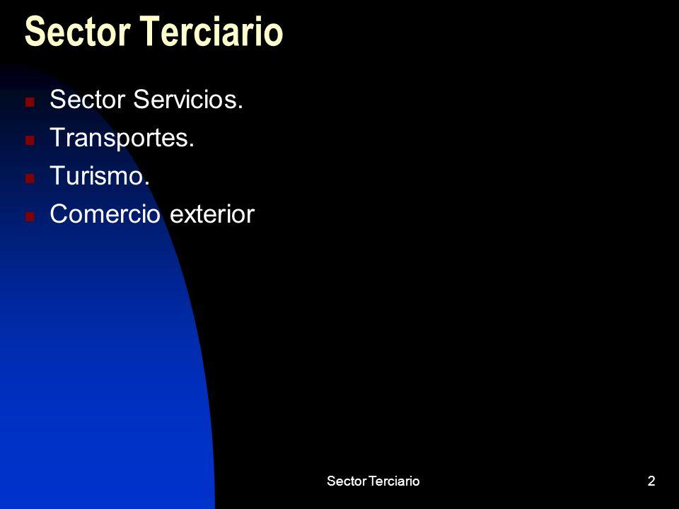 Sector Terciario53 Características de turismo Carácter estacional: tercer trimestre 36,6%.