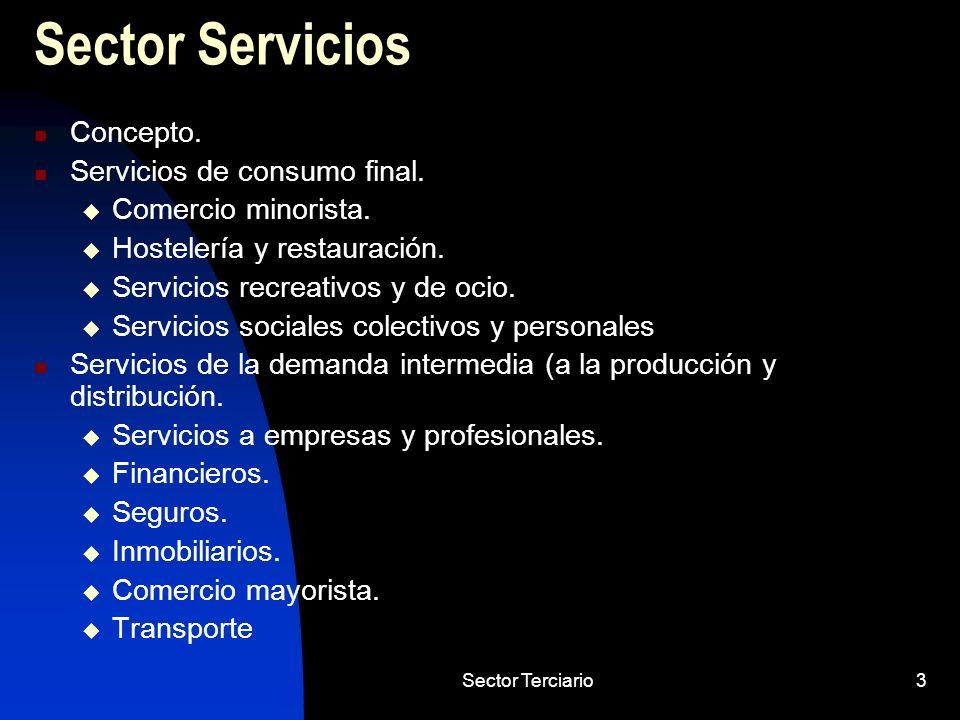 Sector Terciario3 Sector Servicios Concepto. Servicios de consumo final. Comercio minorista. Hostelería y restauración. Servicios recreativos y de oci
