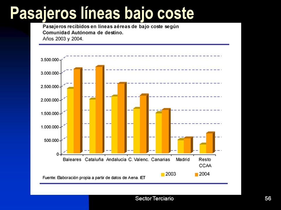 Sector Terciario56 Pasajeros líneas bajo coste