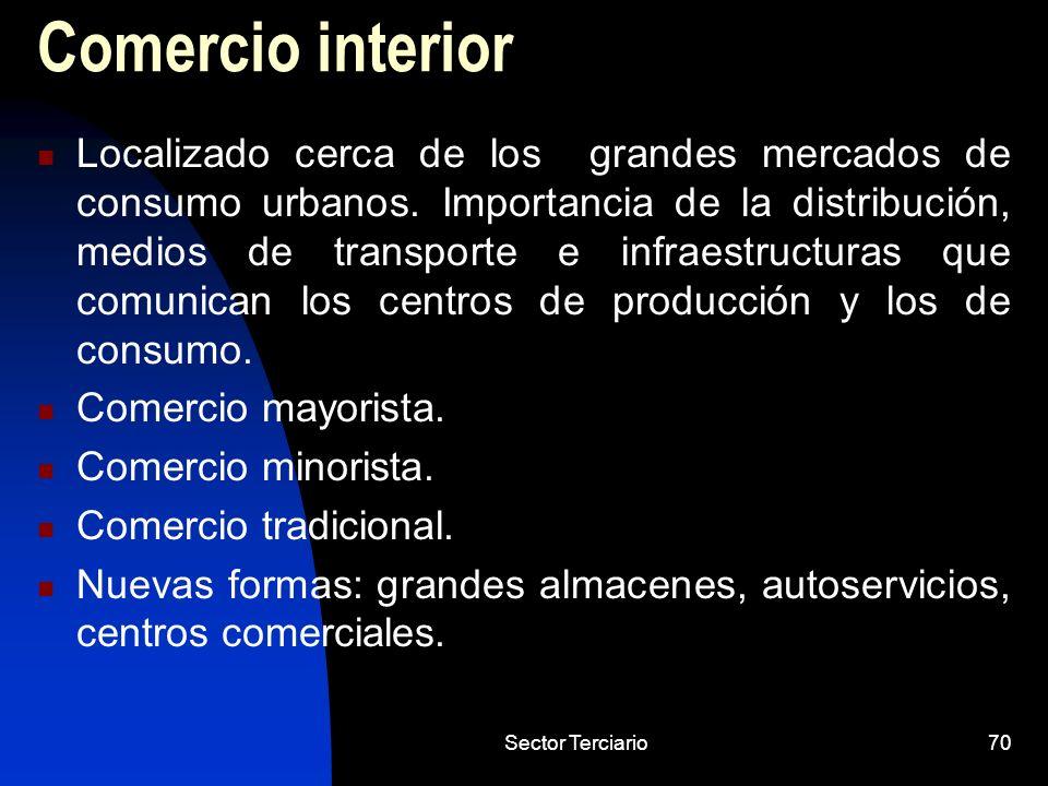Sector Terciario70 Comercio interior Localizado cerca de los grandes mercados de consumo urbanos. Importancia de la distribución, medios de transporte