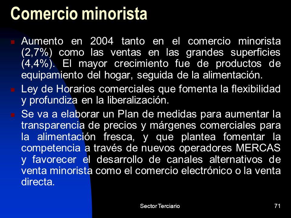 Sector Terciario71 Comercio minorista Aumento en 2004 tanto en el comercio minorista (2,7%) como las ventas en las grandes superficies (4,4%). El mayo
