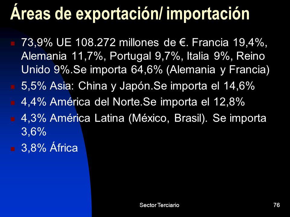 Sector Terciario76 Áreas de exportación/ importación 73,9% UE 108.272 millones de. Francia 19,4%, Alemania 11,7%, Portugal 9,7%, Italia 9%, Reino Unid