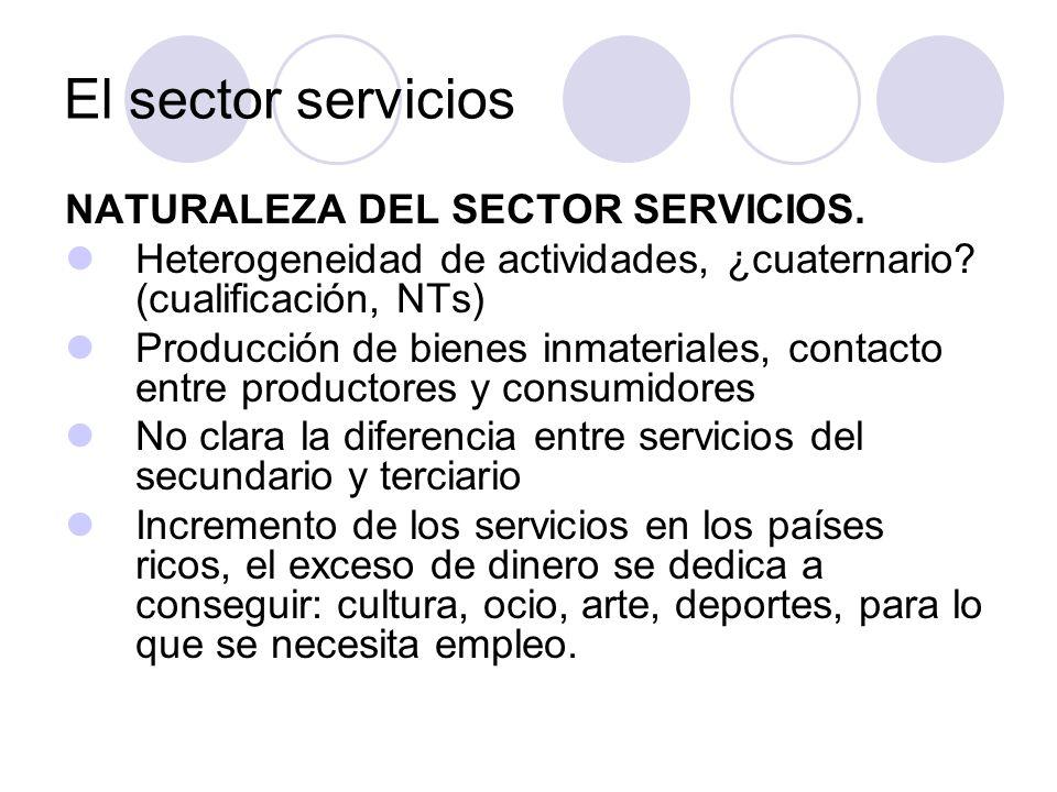 El sector servicios NATURALEZA DEL SECTOR SERVICIOS. Heterogeneidad de actividades, ¿cuaternario? (cualificación, NTs) Producción de bienes inmaterial