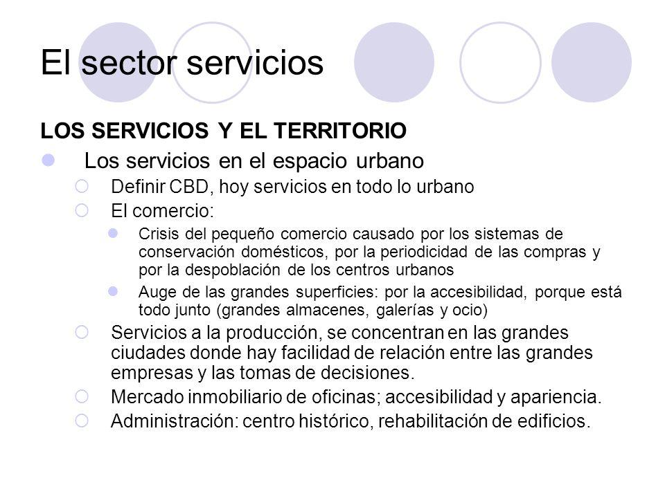 LOS SERVICIOS Y EL TERRITORIO Los servicios en el espacio urbano Definir CBD, hoy servicios en todo lo urbano El comercio: Crisis del pequeño comercio