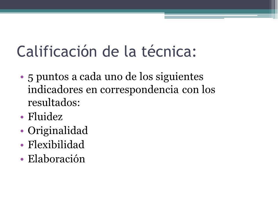 Calificación de la técnica: 5 puntos a cada uno de los siguientes indicadores en correspondencia con los resultados: Fluidez Originalidad Flexibilidad