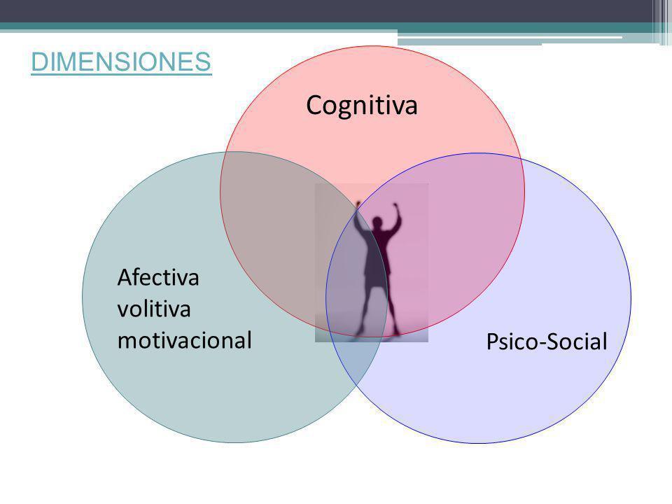 DIMENSIONES Cognitiva Psico-Social Afectiva volitiva motivacional