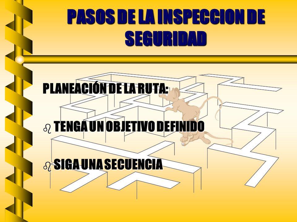PASOS DE LA INSPECCIÓN DE SEGURIDAD PREPARACIÓN: b PLAN b REVISIÓN b ESTUDIO b ESQUEMA b MATERIALES b ENSERES