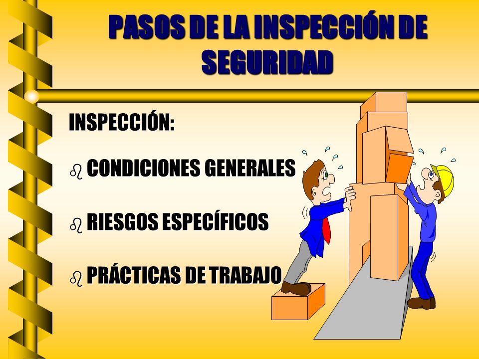 PASOS DE LA INSPECCION DE SEGURIDAD PLANEACIÓN DE LA RUTA: b TENGA UN OBJETIVO DEFINIDO b SIGA UNA SECUENCIA