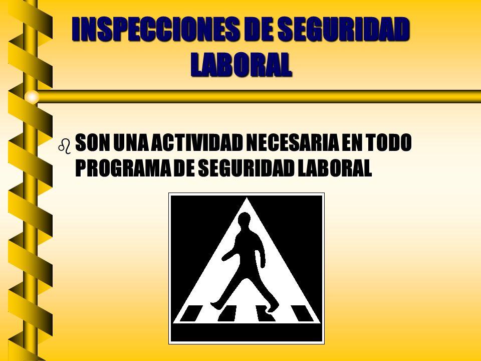 INSPECCIONES DE SEGURIDAD LABORAL b SON UNA ACTIVIDAD NECESARIA EN TODO PROGRAMA DE SEGURIDAD LABORAL