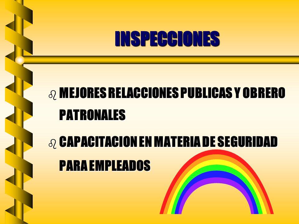 INSPECCIONES b PROTECCIÓN SISTEMÁTICA b INFORMACIÓN UNIFORME b ACCIÓN REMEDIADORA b MAYOR EFICIENCIA b SON EXPRESIÓN DE UN VERDADERO INTERÉS POR LA SE