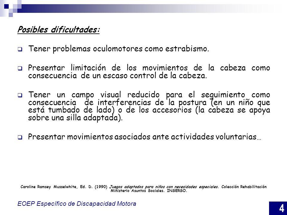 4 EOEP Específico de Discapacidad Motora Posibles dificultades: Tener problemas oculomotores como estrabismo. Presentar limitación de los movimientos