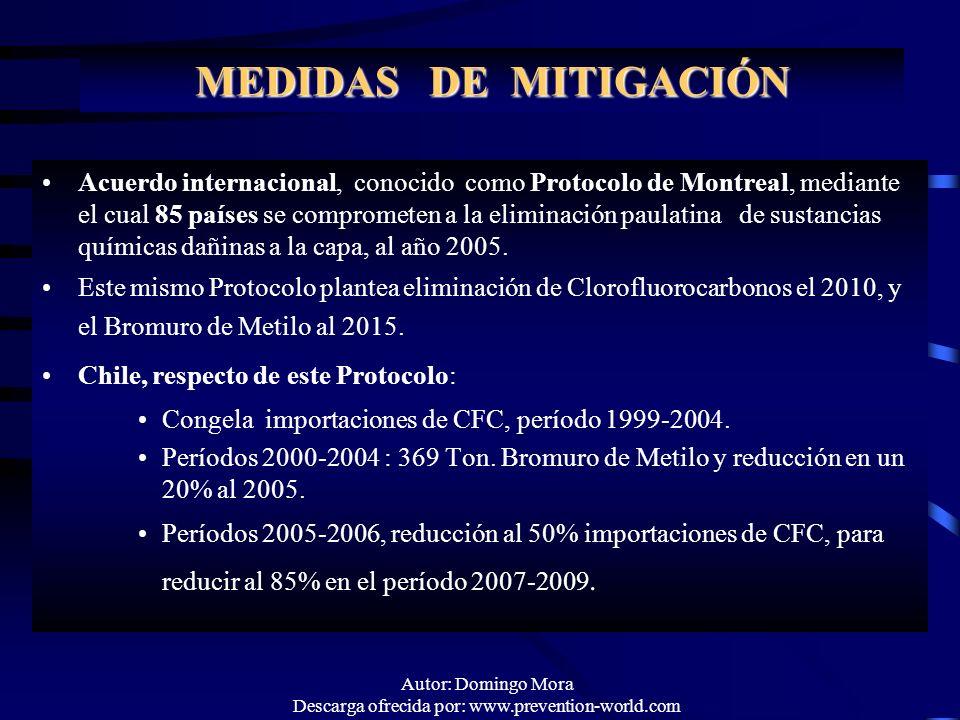 Autor: Domingo Mora Descarga ofrecida por: www.prevention-world.com MEDIDAS DE MITIGACIÓN Acuerdo internacional, conocido como Protocolo de Montreal,