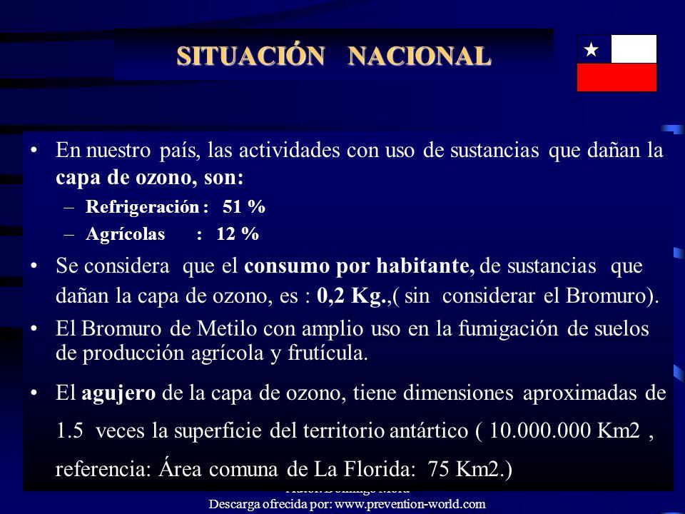 Autor: Domingo Mora Descarga ofrecida por: www.prevention-world.com SITUACIÓN NACIONAL En nuestro país, las actividades con uso de sustancias que daña
