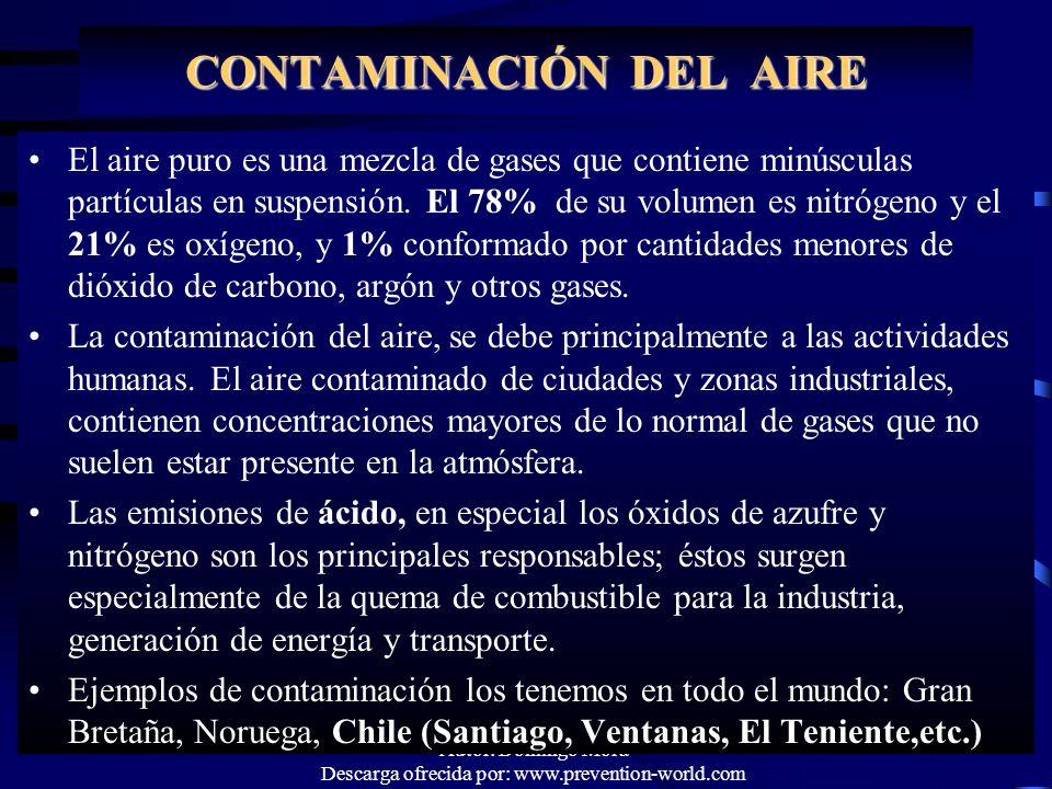 Autor: Domingo Mora Descarga ofrecida por: www.prevention-world.com CONTAMINACIÓN DEL AIRE El aire puro es una mezcla de gases que contiene minúsculas