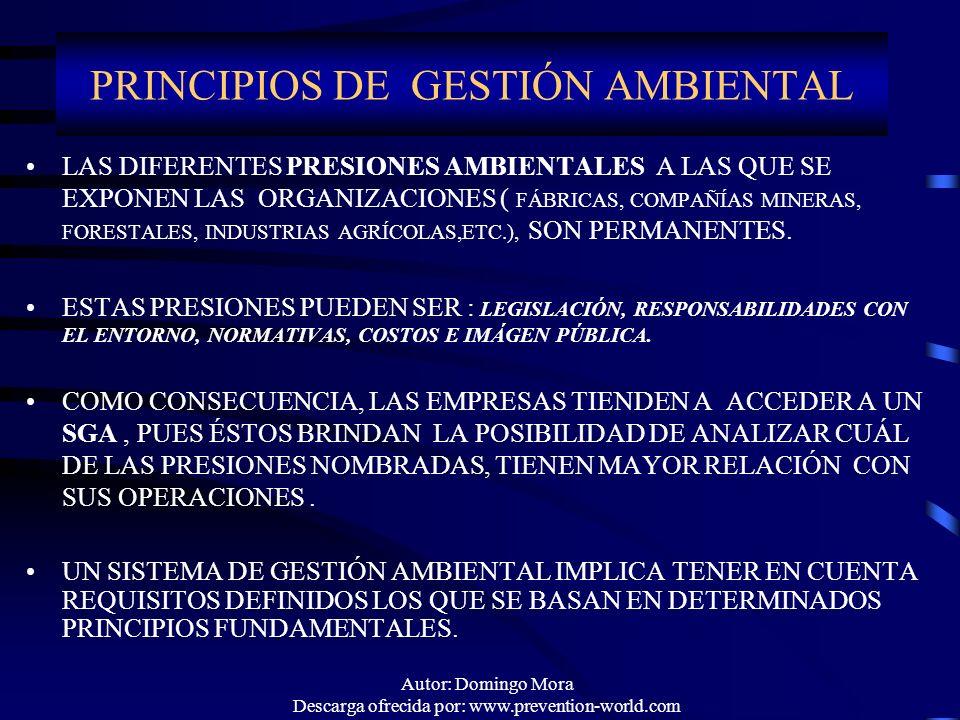 Autor: Domingo Mora Descarga ofrecida por: www.prevention-world.com PRINCIPIOS DE GESTIÓN AMBIENTAL LAS DIFERENTES PRESIONES AMBIENTALES A LAS QUE SE