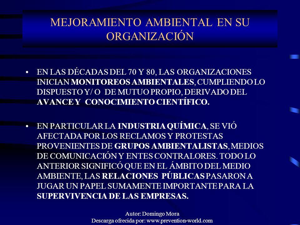 Autor: Domingo Mora Descarga ofrecida por: www.prevention-world.com EN LAS DÉCADAS DEL 70 Y 80, LAS ORGANIZACIONES INICIAN MONITOREOS AMBIENTALES, CUM