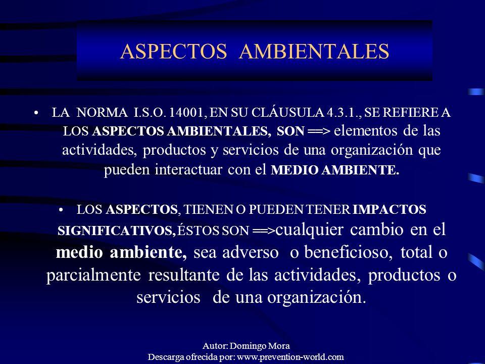 Autor: Domingo Mora Descarga ofrecida por: www.prevention-world.com ASPECTOS AMBIENTALES LA NORMA I.S.O. 14001, EN SU CLÁUSULA 4.3.1., SE REFIERE A LO