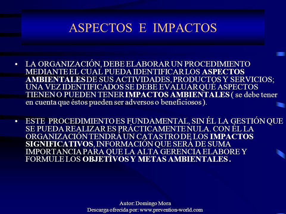 Autor: Domingo Mora Descarga ofrecida por: www.prevention-world.com ASPECTOS E IMPACTOS LA ORGANIZACIÓN, DEBE ELABORAR UN PROCEDIMIENTO MEDIANTE EL CU