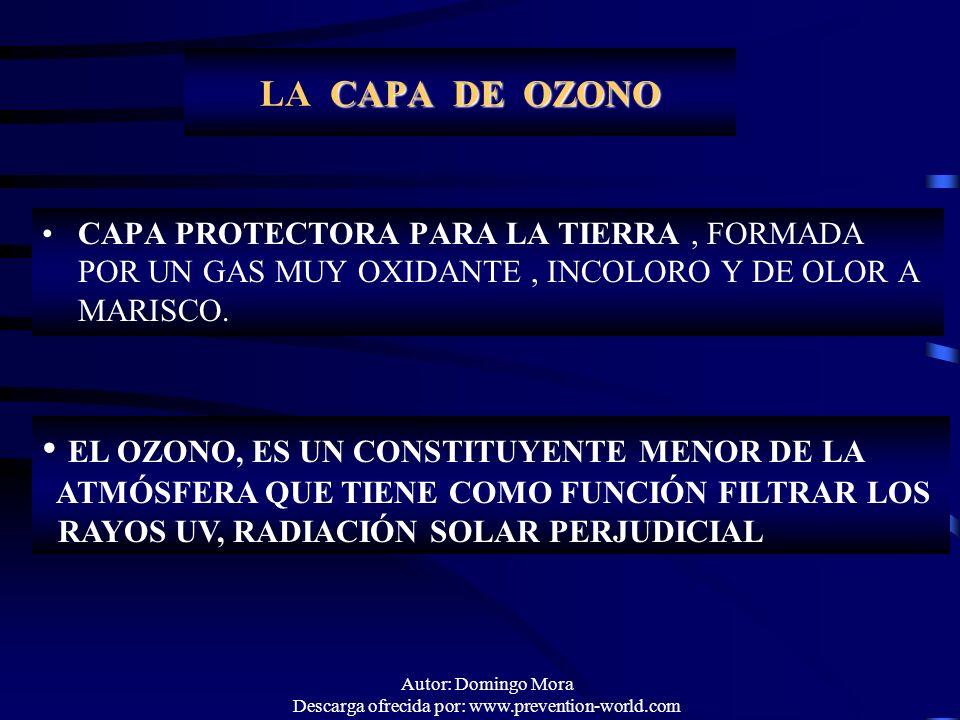 Autor: Domingo Mora Descarga ofrecida por: www.prevention-world.com LA CAPA DE OZONO CAPA PROTECTORA PARA LA TIERRA, FORMADA POR UN GAS MUY OXIDANTE,