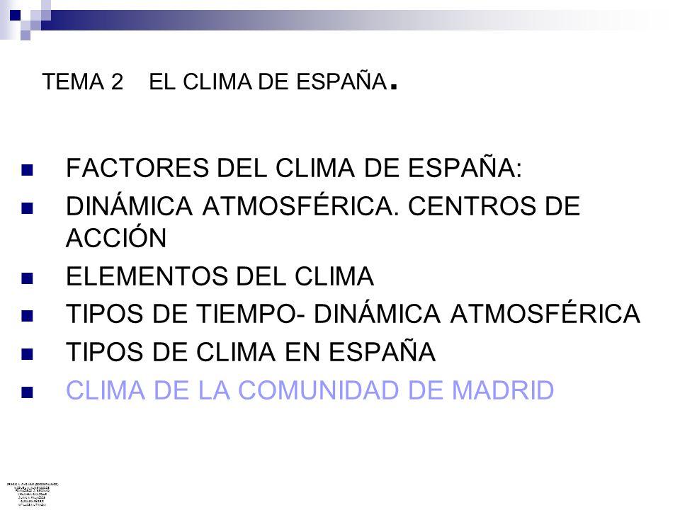 TEMA 2 EL CLIMA DE ESPAÑA. FACTORES DEL CLIMA DE ESPAÑA: DINÁMICA ATMOSFÉRICA. CENTROS DE ACCIÓN ELEMENTOS DEL CLIMA TIPOS DE TIEMPO- DINÁMICA ATMOSFÉ