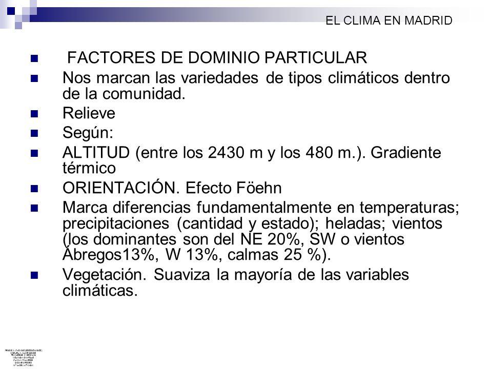 FACTORES DE DOMINIO PARTICULAR Nos marcan las variedades de tipos climáticos dentro de la comunidad. Relieve Según: ALTITUD (entre los 2430 m y los 48