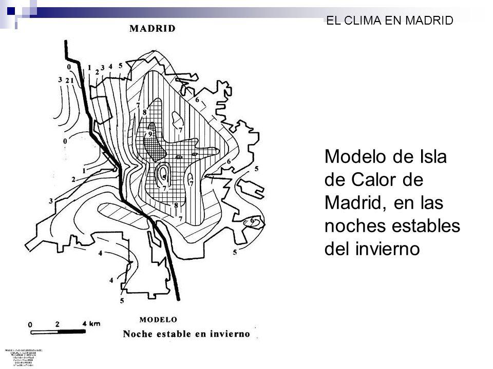 Modelo de Isla de Calor de Madrid, en las noches estables del invierno EL CLIMA EN MADRID PEDRO A. JURADO (COORDINADOR) MIGUEL A. ALMENDROS FRANCISCO