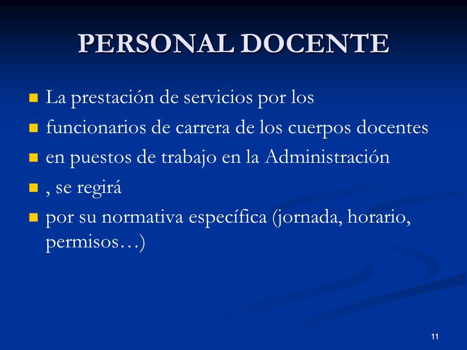 11 PERSONAL DOCENTE La prestación de servicios por los funcionarios de carrera de los cuerpos docentes en puestos de trabajo en la Administración, se