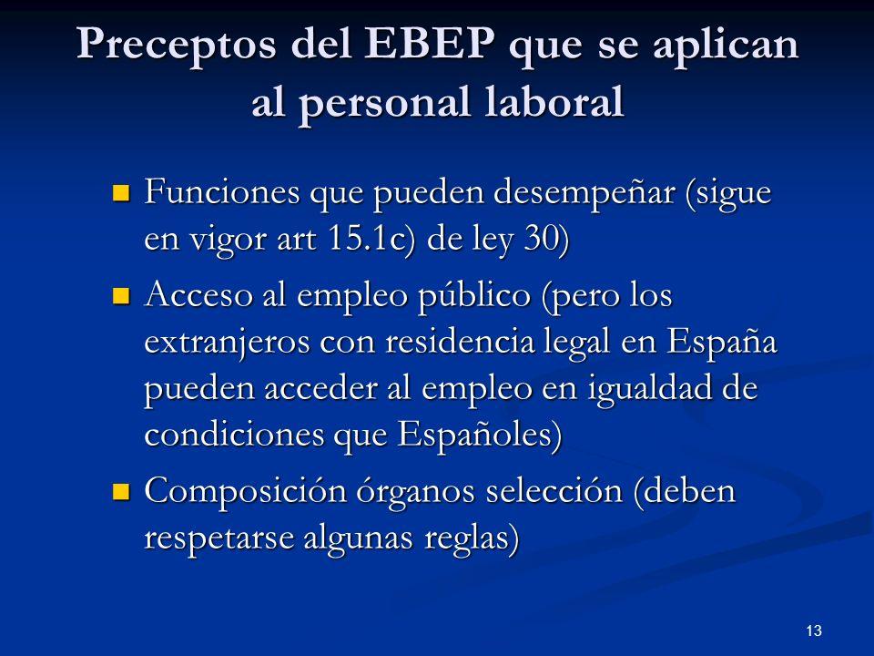 13 Preceptos del EBEP que se aplican al personal laboral Funciones que pueden desempeñar (sigue en vigor art 15.1c) de ley 30) Funciones que pueden de