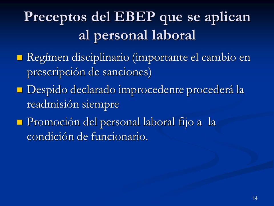 14 Preceptos del EBEP que se aplican al personal laboral Regímen disciplinario (importante el cambio en prescripción de sanciones) Regímen disciplinar