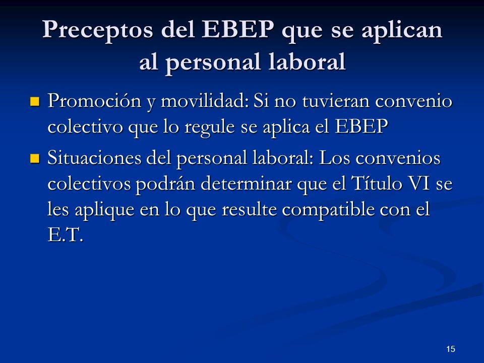 15 Preceptos del EBEP que se aplican al personal laboral Promoción y movilidad: Si no tuvieran convenio colectivo que lo regule se aplica el EBEP Prom