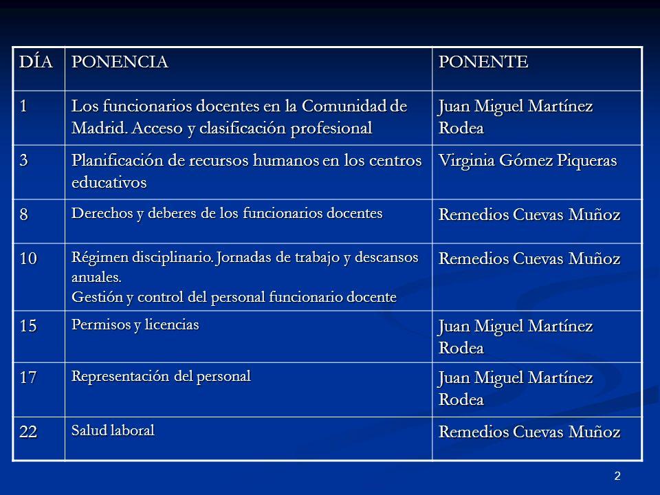 2 DÍAPONENCIAPONENTE 1 Los funcionarios docentes en la Comunidad de Madrid. Acceso y clasificación profesional Juan Miguel Martínez Rodea 3 Planificac