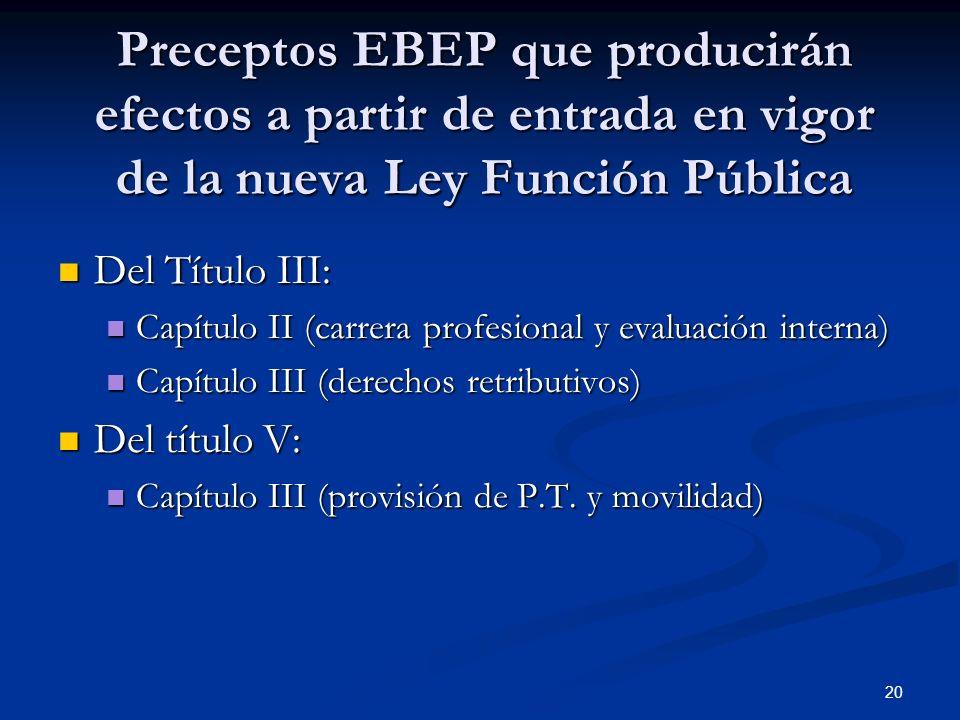 20 Preceptos EBEP que producirán efectos a partir de entrada en vigor de la nueva Ley Función Pública Del Título III: Del Título III: Capítulo II (car